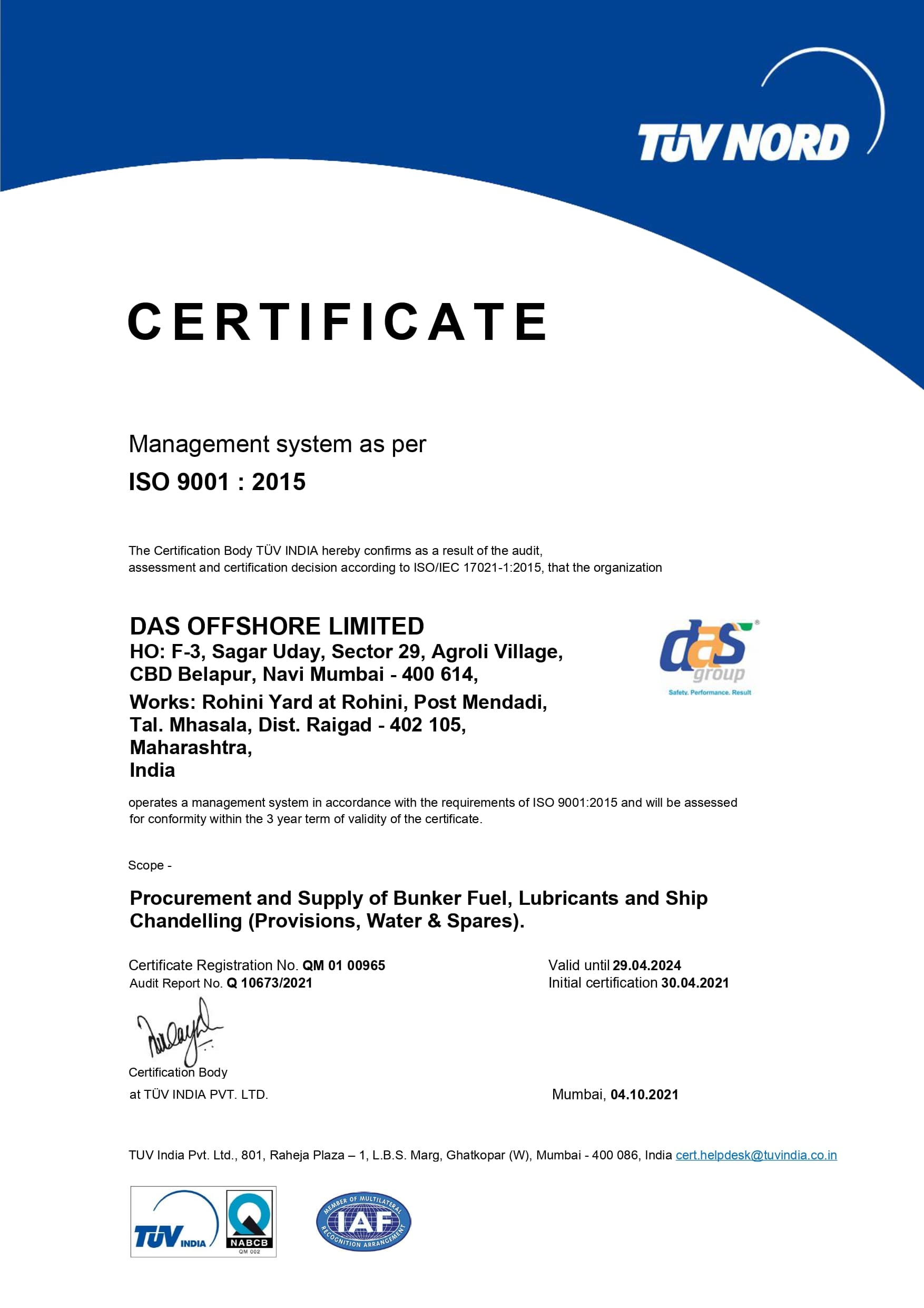 Management system as per ISO 14001 : 2015(Procurement and Supply of Bunker fuel, Lubricants and ship chandelling)
