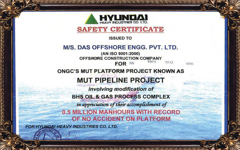 Safety Certificate issued for ONGC's MUT Platform Project known as MUT PIPELINE PROJECT